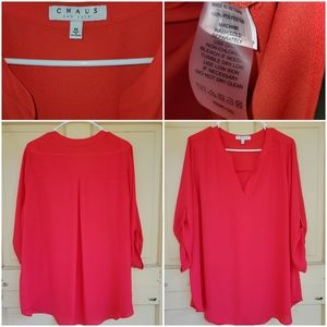 Chaus 1X coral long sleeve blouse